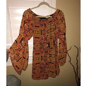 Off the Shoulder Bell Sleeve Patterned Dress